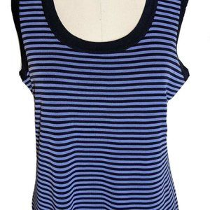 Exclusively Misook Purple Knit Stripe Tank Top Lg